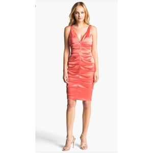 Synched coral midi dress